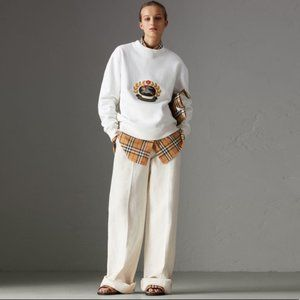 Burberry Cotton Linen Canvas Wide-Leg Trousers 4